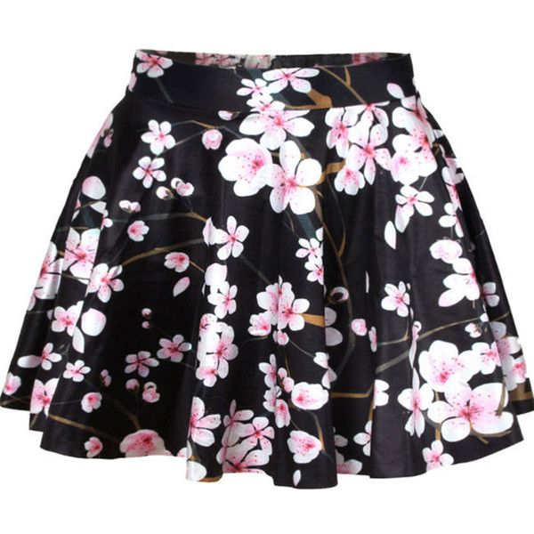 Floral Attractive Flared Mini Skirt (95 BRL) ❤ liked on Polyvore featuring skirts, mini skirts, bottoms, flared hem skirt, floral print skirt, floral mini skirt, floral printed skirt and flared skirt