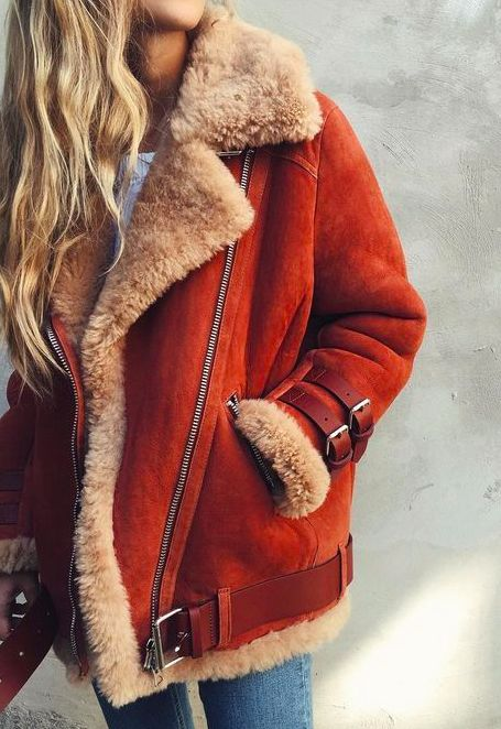 shearling in red