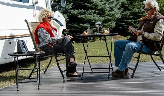 Planning on boondocking this year? Don't sit in gravel or dirt when you're RVing. Expand and enhance your outdoor space with the RV Deck and you'll be sitting in style! Order today to receive 10% off! http://www.deckedoutrvproducts.com/order/