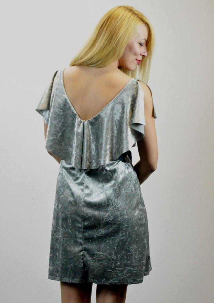 Φόρεμα Βελούδο με Βολάν και Ζώνη - ΓΚΡΙ   shop online: www.musitsa.com