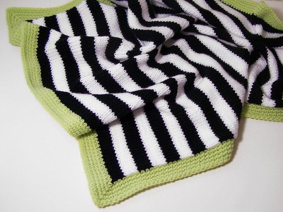 Love this Modern Baby blanket in black and white stripes with green trim by PinkyRoo