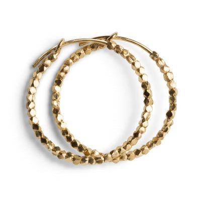Kreol øreringer med små perler i forgylt sterlingsølv - Forgylt sølv - Øredobber