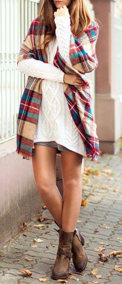#fall #fashion / tartan + oversized knit love the boots! Only have to wear with tights or leggings