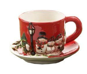 Snowman Family Ceramic Christmas Holiday Tea Cup and Saucer. http://theceramicchefknives.com/ceramic-tea-pots-christmas-theme-tea-pots/ Snowman Family Ceramic Christmas Holiday Tea Cup and Saucer.
