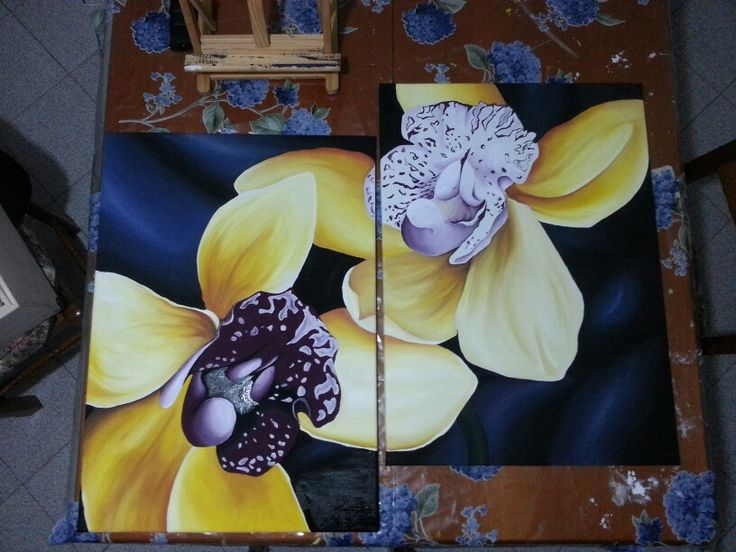 #flower #orchidea #paintbrushes #yellow #canvas