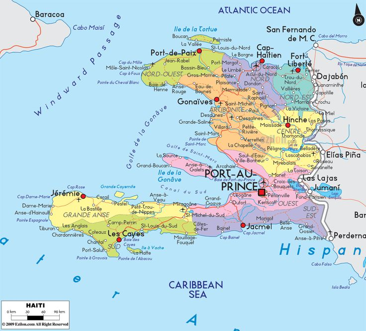 Detailed large political map of Haiti showing names of capital city, towns, states, provinces and boundaries with neighbouring countries.