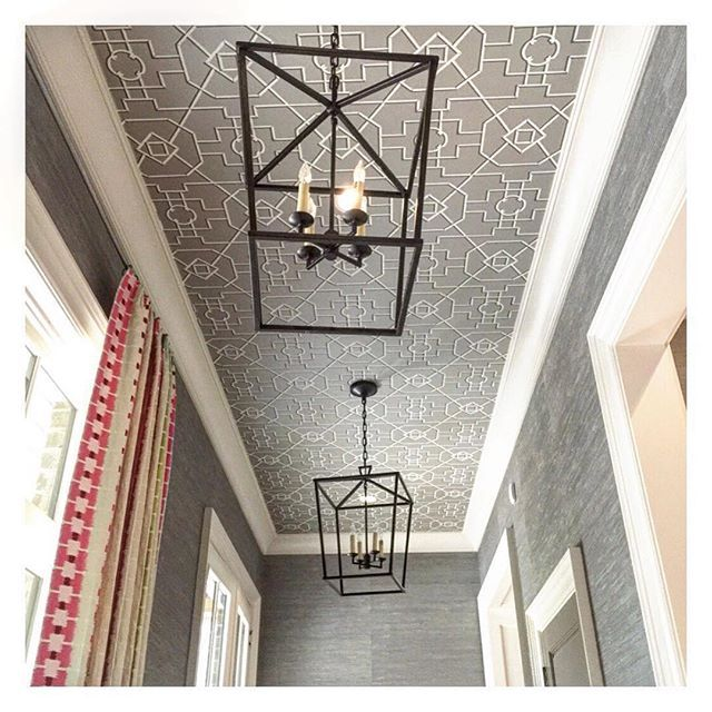 cover over ugly ceiling tile with wallpaper! | at home | Pinterest ...