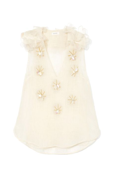 Beaded Linen Top by Delpozo