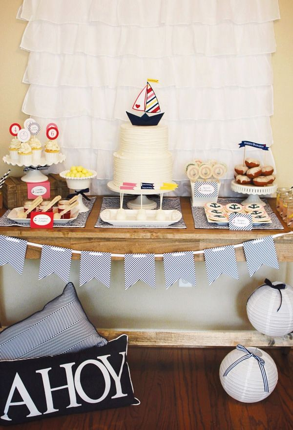 sailor-party-dessert-table {white lanterns with blue/white stripe bows - EASY!!} @Marcia Cunha brockmeyer