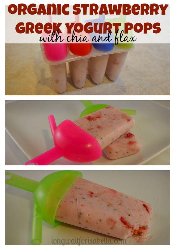 Organic Strawberry Greek Yogurt Pops with Chia and Flax Seeds #NaturalProbiotic #Shop