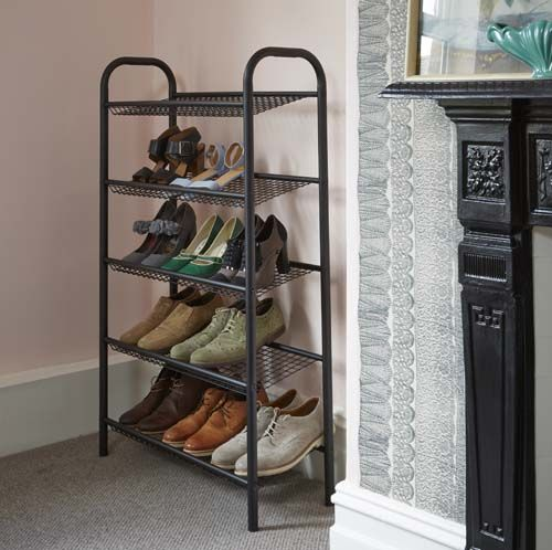 5 tier shoe rack black at store 5 tier shoe rack finished in a black coated metal