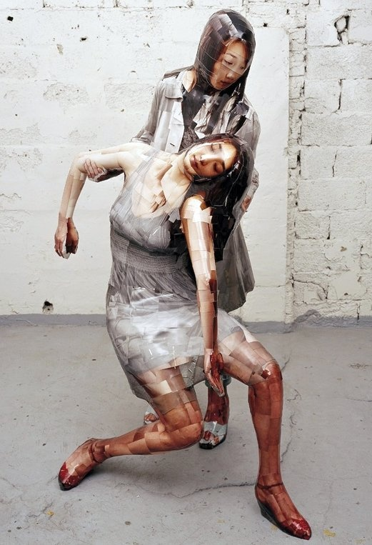 Korean artist Gwon Osang makes sculptures from hundreds of photos plastered to mannequins