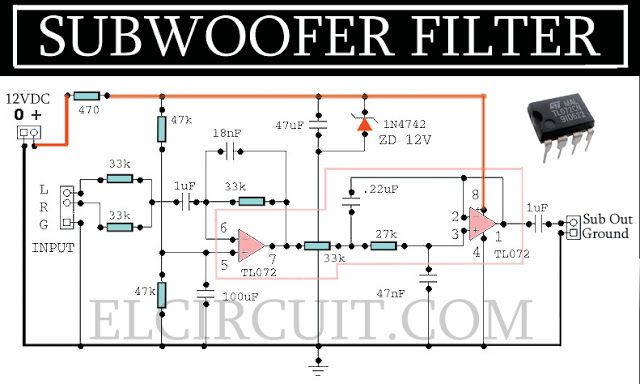 Here is a my experience in designing and building a subwoofer. in this subwoofer filter , first at important parts is the active circuit filter 40 Hz, 12dB / Octave slope with a dual-ic opamp TL072