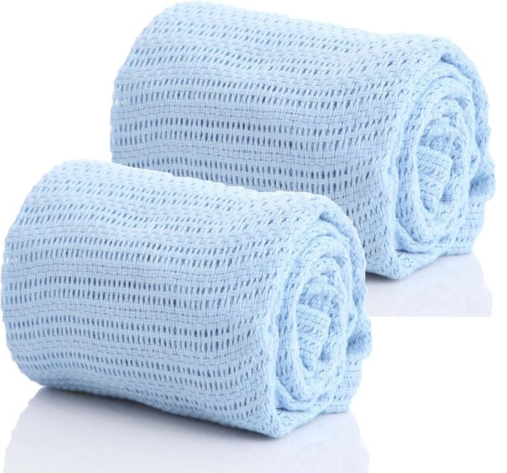 See here deals in 100% Pure Cotton Cellular Baby Blanket for Pram Cot Bed Moses Basket Crib in Blue Pink or White (2 x Blue)