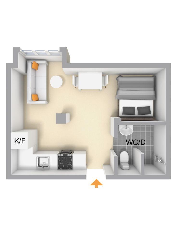 Les petites surfaces du jour  Tiny home  Small apt interior design  Amnagement studio 20m2