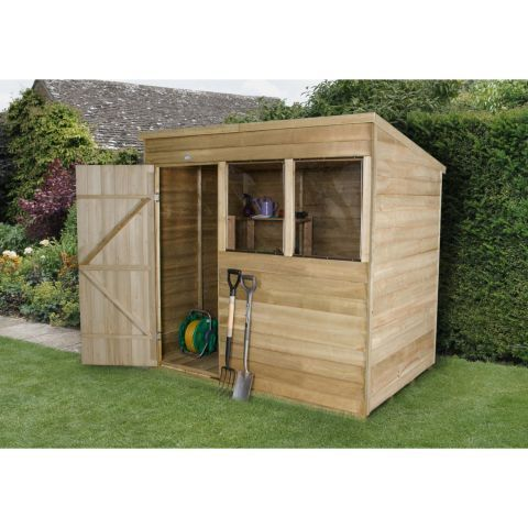 forest garden 7ft x 5ft overlap pressure treated pent shed next day delivery 22099 - Garden Sheds Quick Delivery