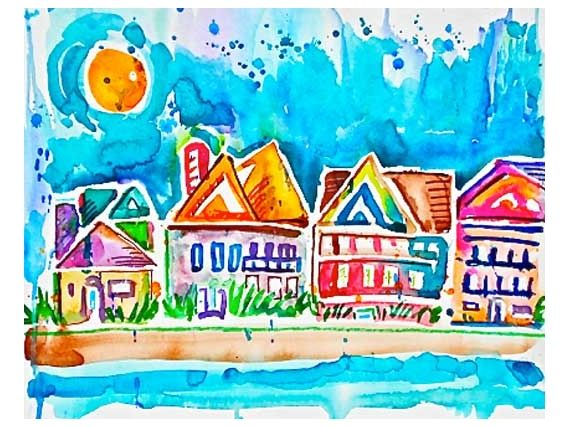 Paintings (Originals) For Sale   Beach Houses at the Shore --Original watercolor painting on paper   ArtsyHome