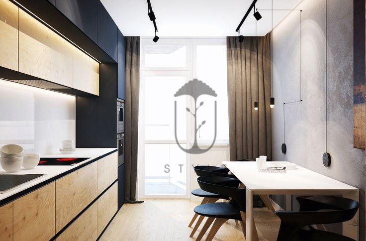 Встроенная кухонная мебель с закрытыми наружными фасадами в минималистическом интерьере кухни. Напольное покрытие - керамическая плитка в светлых тонах.