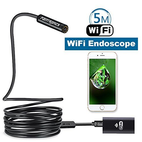 Fantronics 5 Meter(16.4ft) Rigid Cable Wireless Endoscope Borescope WIFI Inspection Camera 2.0 Megapixels HD Snake Camera for Android and IOS Smartphone, iPhone, Samsung, Tablet, Macbook  Compatibility: Fantronics inspection camera can work with iPhone/iPad(system above IOS 8.0) and Andriod Smartphone/Tablet computer(system above android 4.4).  Easy to set up: Just download and install APP from APP Store or Google Play.  High resolution: HD camera which could provide you clear close ra...