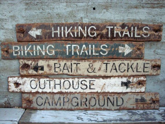 Rustic Wood Cabin Sign Set Hiking Trail Sign Biking Sign