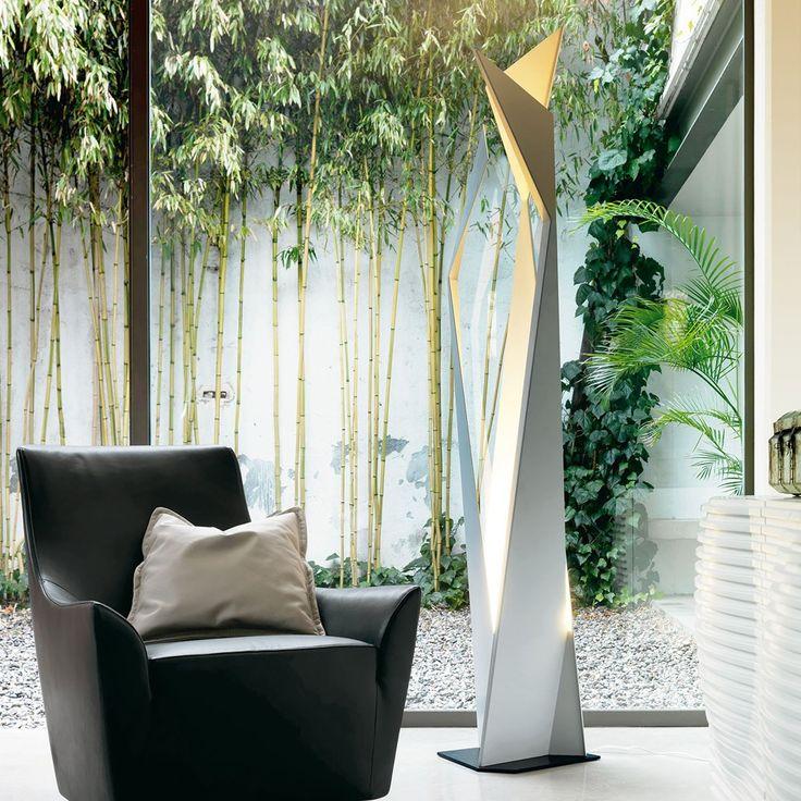 This angular floor light creates a beautiful Deconstruktivist design to a simple light for a unique contemporary design.