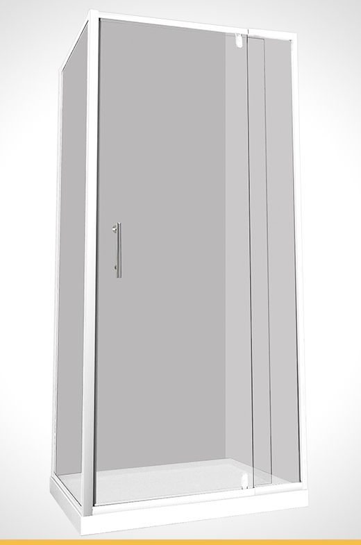 Cadenza 910x890x1830mm white shower screen