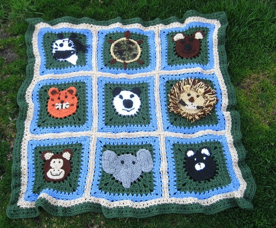 Crochet Patterns Zoo Animals : Zoo Animal Baby Afghan by mlyrec2010 on Etsy, $80.00 based on pattern ...