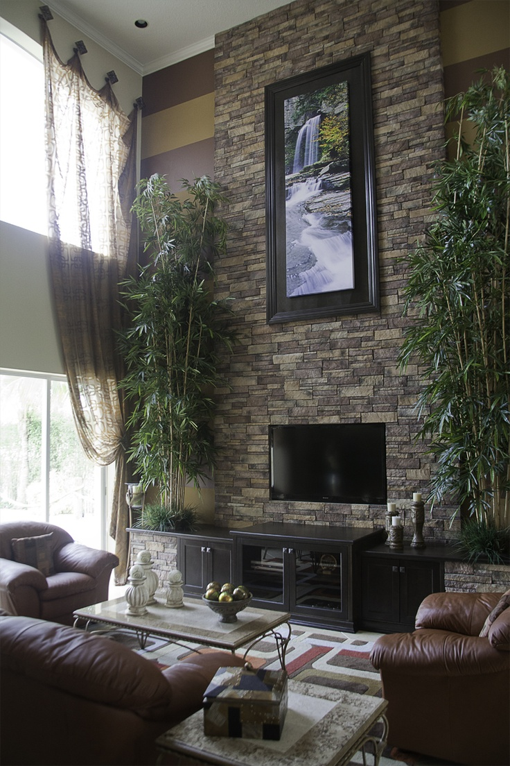 living room rock wall stacked wall bamboo trees contemporary asian 13888