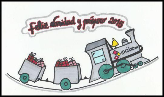 Boceto felicitación de navidad Tren de juguete #Doodle #Xmas