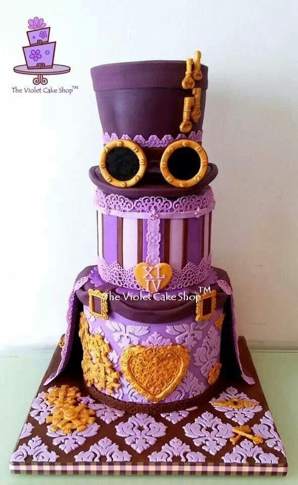 Gorgeous purple steampunk cake