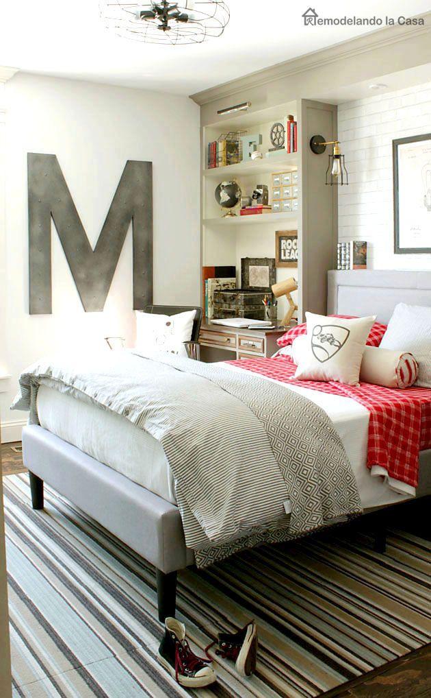 Teen boy bedroom makeover -Built-ins, lighting,industrial decor idea - Vintage