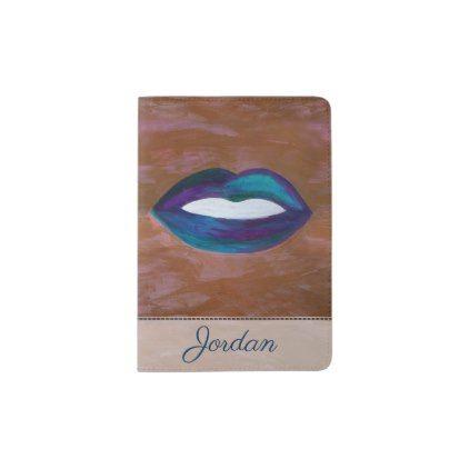 Amorous Travel | Name Lips Kiss XOXO Lipstick | Passport Holder - stylish gifts unique cool diy customize