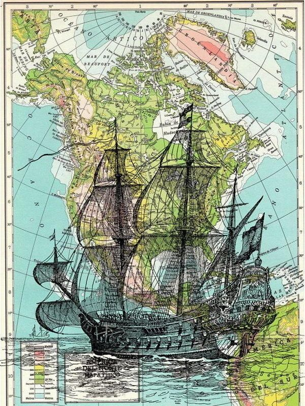 Old Ship on Map Vintage Book Print