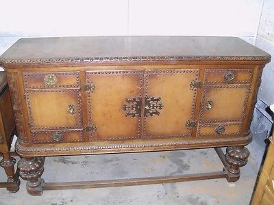 CREDENZA IN MASSELLO FODERATA IN CUOIO INTEGRA ORIGINALE EPOCA PRIMI 900' �499