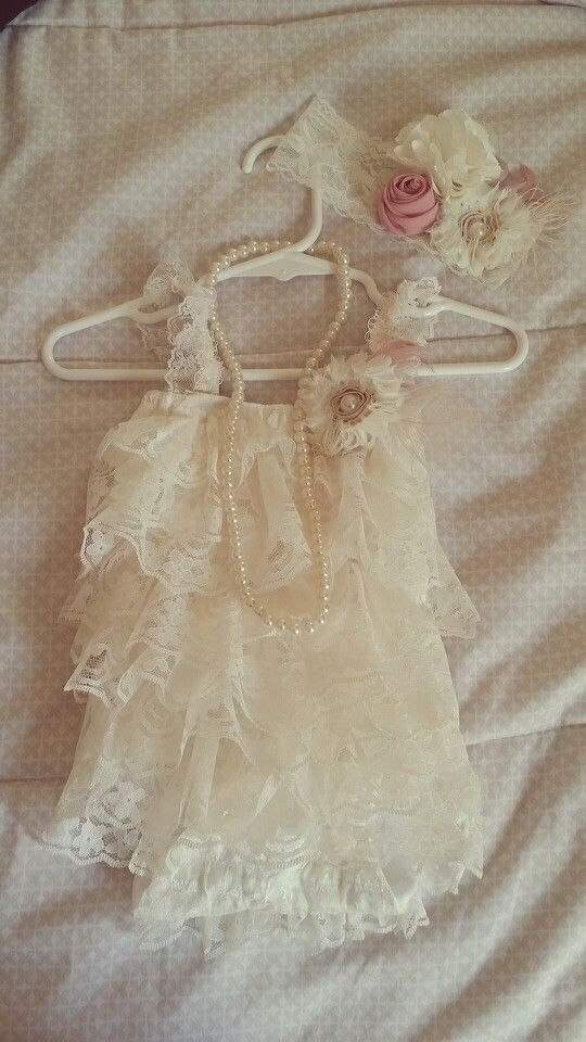 Diy vintage baby romper with lace. Hadband and pearl necklace.