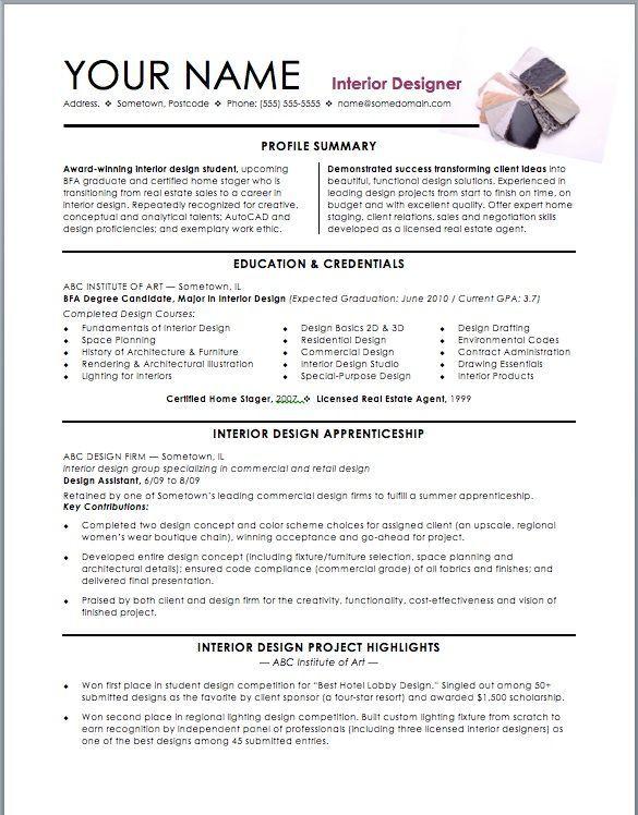 Resume Examples Interior Design Interior Design Resume Resume