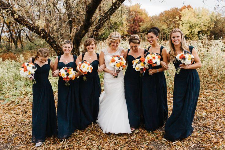 Minnesota fall wedding navy orange and cream wedding for Navy dress for fall wedding