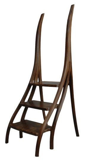 David Ebner American Library Steps Ladder With Curving Sides Carved And Sculpted Wood Signed Initials Dated USA