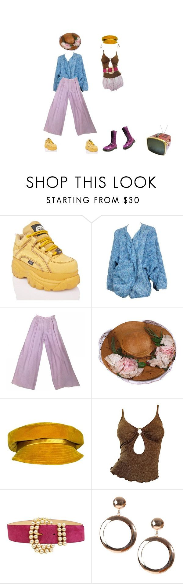 """vanish with me into the clouds"" by rojinnn ❤ liked on Polyvore featuring Buffalo, Issey Miyake, Chanel, Mr. John, Moschino, Victor and Dr. Martens"