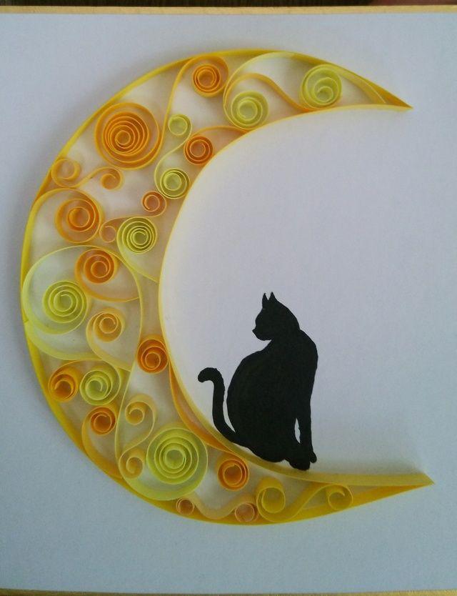 【sold out】猫と月   ~影絵とペーパークイリング~