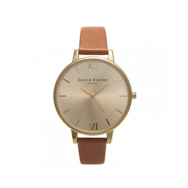Olivia Burton Big Dial Tan and Gold OB13BD09 (€100) found on Polyvore