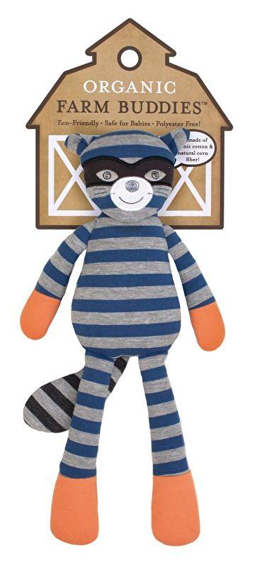 Knuffel Robbie Raccoon,100% biologische katoen. Verpakking: gerecycled papier, bedrukt met soja inkt. Duurzame hypoallergeen maisvezel vulling.