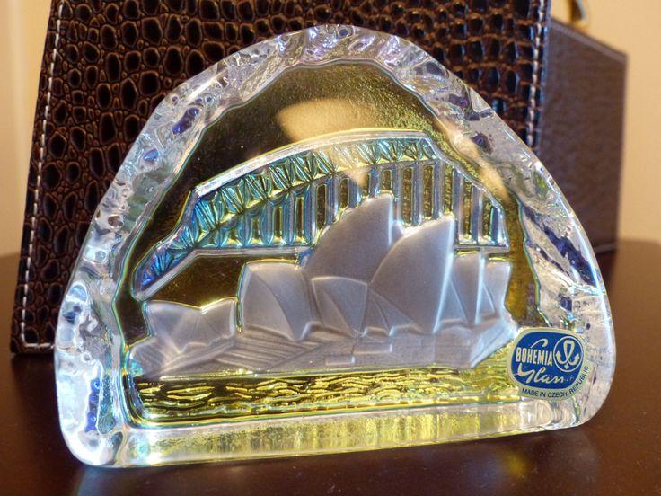 BOHEMIA GLASS VINTAGE Sidney Opera House Paperweight / Glass Art by JusFunkinAround on Etsy    $27