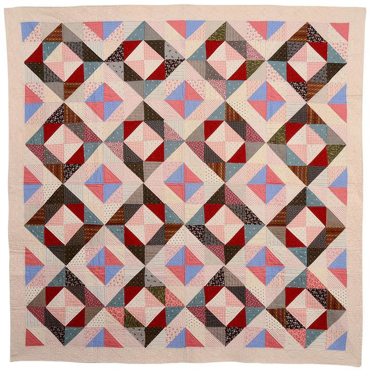 Light and Dark Diamonds Quilt | From a unique collection of antique and modern quilts at https://www.1stdibs.com/furniture/folk-art/quilts/