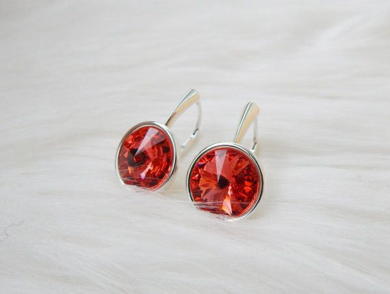 Bridesmaid Swarovski watermelon crystal rivoli dangle by DreamyBox