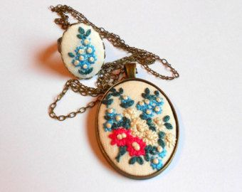 Floral Necklace and Ring Jewelry Set Adjustable by RedWorkStitches