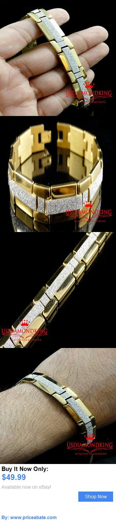 Men Jewelry: New 14K Yellow Gold Finish Men Women Stainless Steel Lab Diamond Bracelet 8 Inch BUY IT NOW ONLY: $49.99 #priceabateMenJewelry OR #priceabate