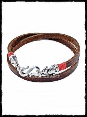 Bőr karkötő ezüst lófej végekkel (duplasoros)