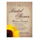 Rustic Sunflower Burlap Bridal Shower Invitations