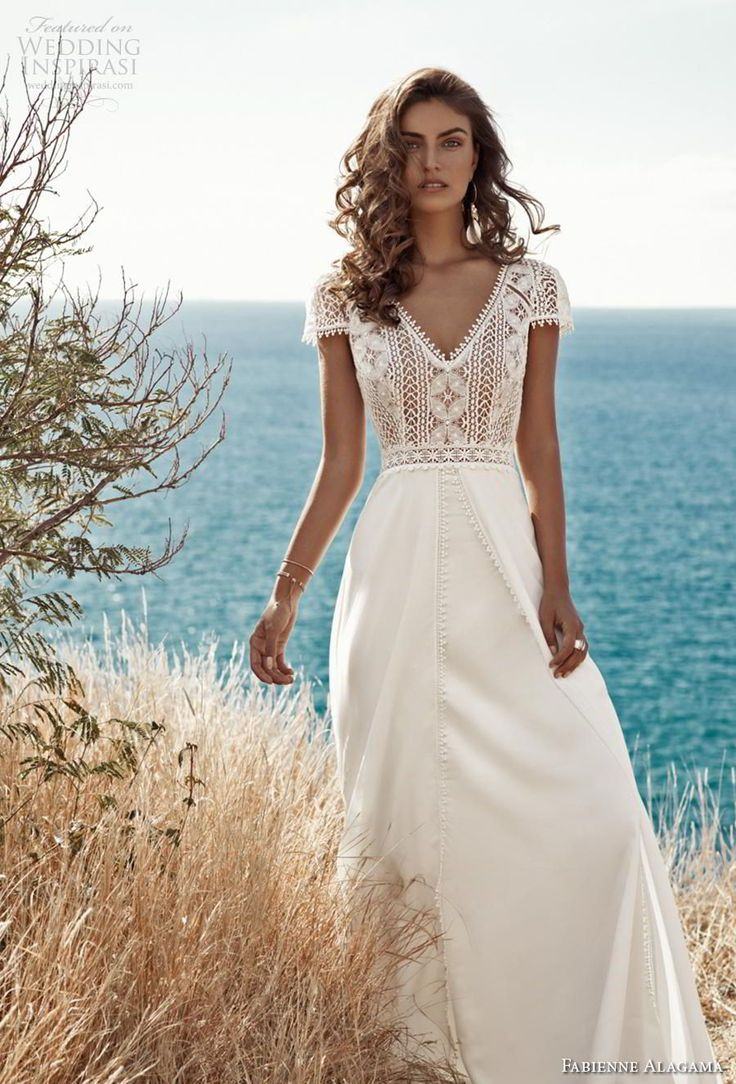 fabienne alagama 2019 bridal cap sleeves v neck heavily embellished bodice boho …